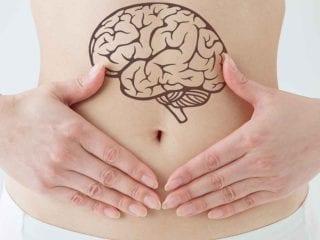 Eine Frau hält sich die Hände auf den Bauch. Ein Gehirn ist über dem Bauchnabel abgebildet