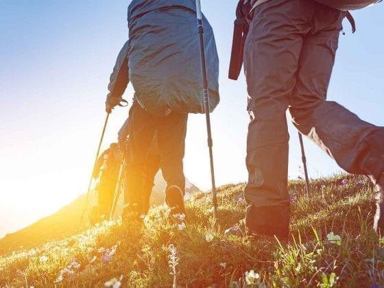 Wanderer gehen bei Sonnenschein