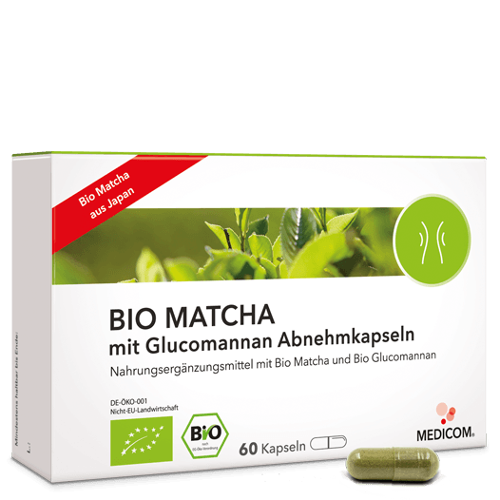 Bio Matcha mit Glucomannan Abnehmkapseln, hochwertiger Matchatee – effektiver Sättigungseffekt