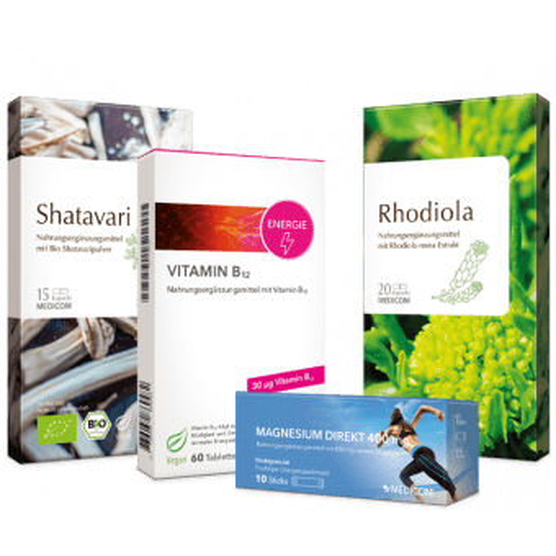 Die Kennenlernpackungen von der Day Relax-Kombi mit Magnesium, Vitamin B12, Shatavari und Rhodiola