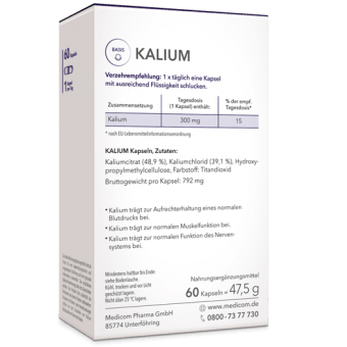 Kalium von Medicom – pro Kapsel 300 mg