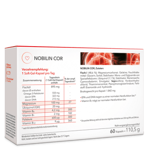 Nobilin Cor – 7 Inhaltsstoffe für das Herz mit Omega-3-Fettsäuren