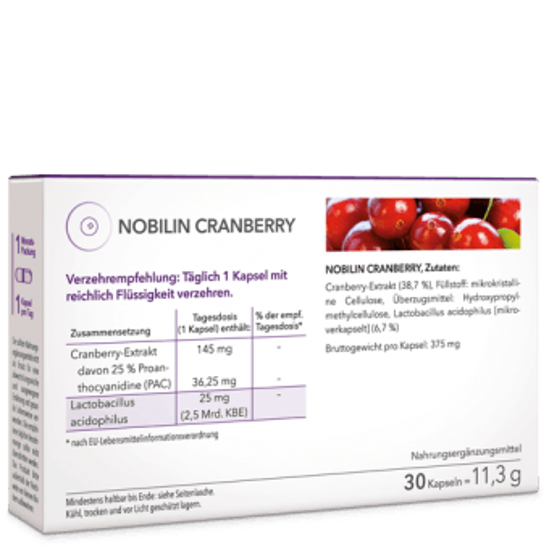 Nobilin Cranberry – Tagesdosis 1 Kapsel mit Cranberryextrakt 145 mg und Lactobacillus acidophilus 25 mg