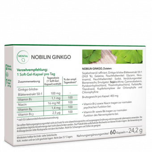 Nobilin Ginkgo – Inhaltsstoffe: Ginkgo biloba Extrakt, Vitamin B1, Niacin, Vitamin B6 und Vitamin B12
