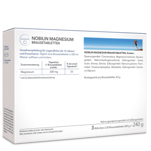 Magnesium Brausetabletten - 1 Tagesdosis, 200 mg Magnesium, Zitrusgeschmack