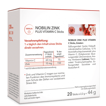 Nobilin Zink plus Vitamin C Sticks | Direktgranulat mit 15 mg Zink und 60 mg Vitamin C