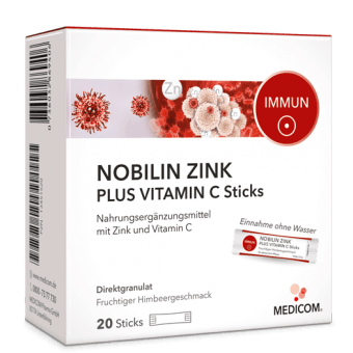 Nobilin Zink plus Vitamin C Sticks mit leckerem Himbeergeschmack