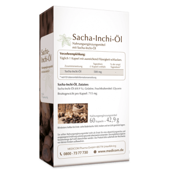 Sacha-Inchi-Öl, 500 mg Sacha-Inchi-Öl in einer Soft-Gel-Kapsel