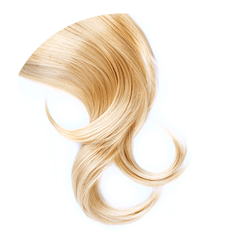 Hellblondes, kräftiges und gesundes Haarbündel